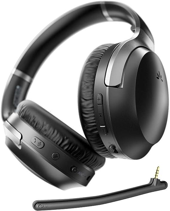 Avantree Aria Pro aptX-HD 24 Bits Hi-Fi Auriculares Bluetooth 5.0 de Cancelación Activa de Ruido, Diadema Inalámbricos ANC con Micrófono Boom para ...