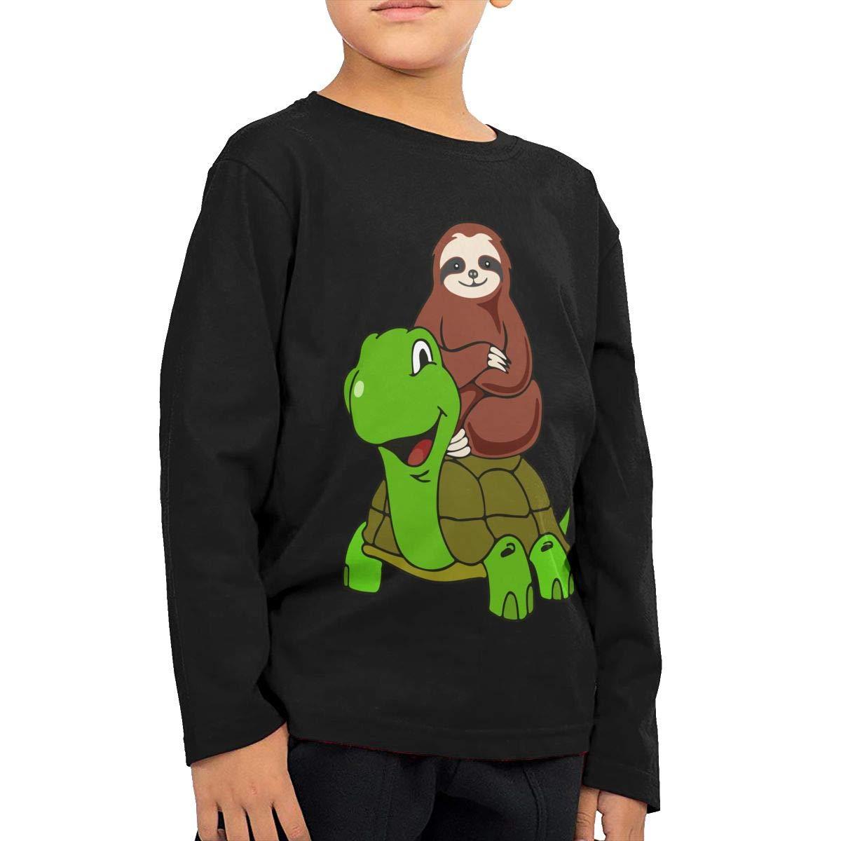 Sloth Riding Tortoise Novelty Toddler Kid Baby Boys Girls Long Sleeve T Shirts Clothing
