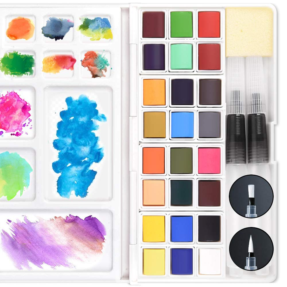 12 Assorted Colors with Water Brush Mixing Palette Sponge Watercolor Field Sketch Set Portable Travel Pocket Solid Watercolor Paint kit for Adults Journal Painting Sketching Coloring Drawing