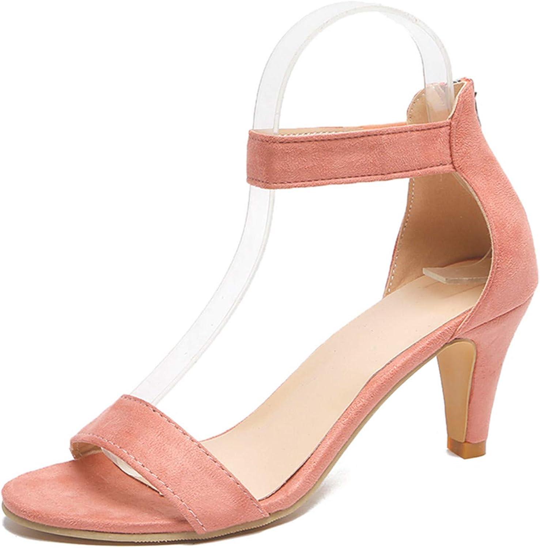 Festnight Womens Stiletto Open Toe Low Heel Zipper Closure Sandal Ankle Strap High Heels Sandals Working Bridal Party Shoes