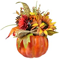 12-in Autumn Harvest Orange and Yellow Floral Filled Pumpkin Deals