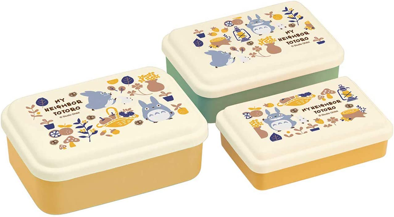 Skater My Neighbor Totoro Food Storage Container with Lids 3pc Set - Authentic Japanese Design - Durable, Dishwasher Safe - Foraging