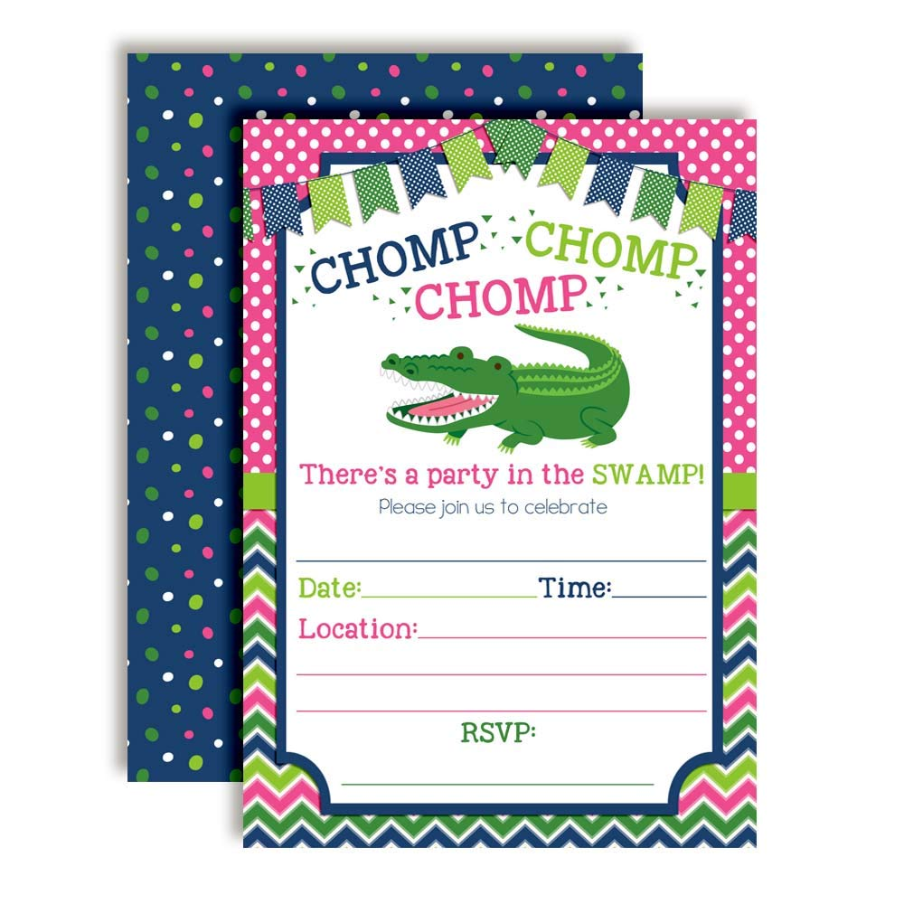 Alligator Pink, Navy & Green Chomp in The Swamp Birthday Party Invitations for Girls, 20 5''x7'' Fill in Cards with Twenty White Envelopes by AmandaCreation by Amanda Creation