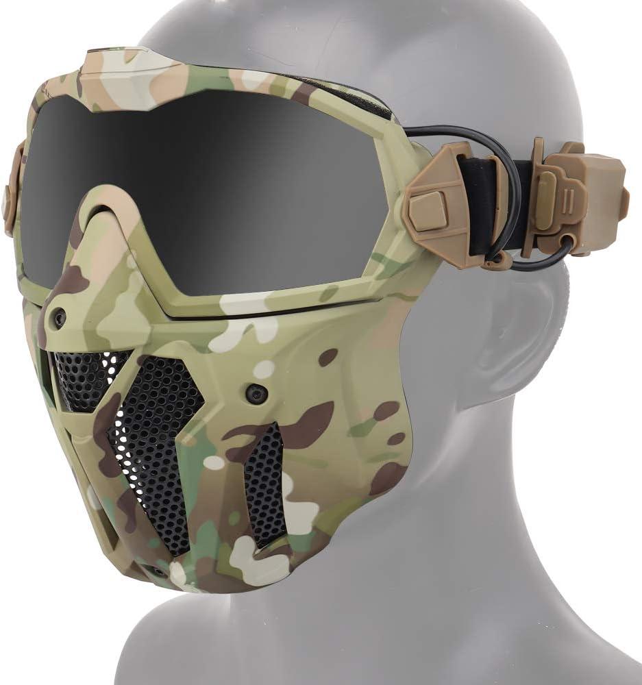 ATAIRSOFT Tactical Airsoft Anti-vaho Anti-Ultravioleta UV Gafas de protección y máscara de Malla con Lentes Intercambiables