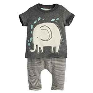 ROPALIA Boy Baby 2Pcs Elephant Print Tops Shirt +Striped Long Pants Outfits Sets