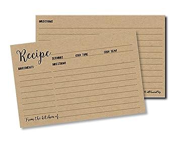 50 recipe cards kraft double sided 4x6 wedding bridal shower card blank plain