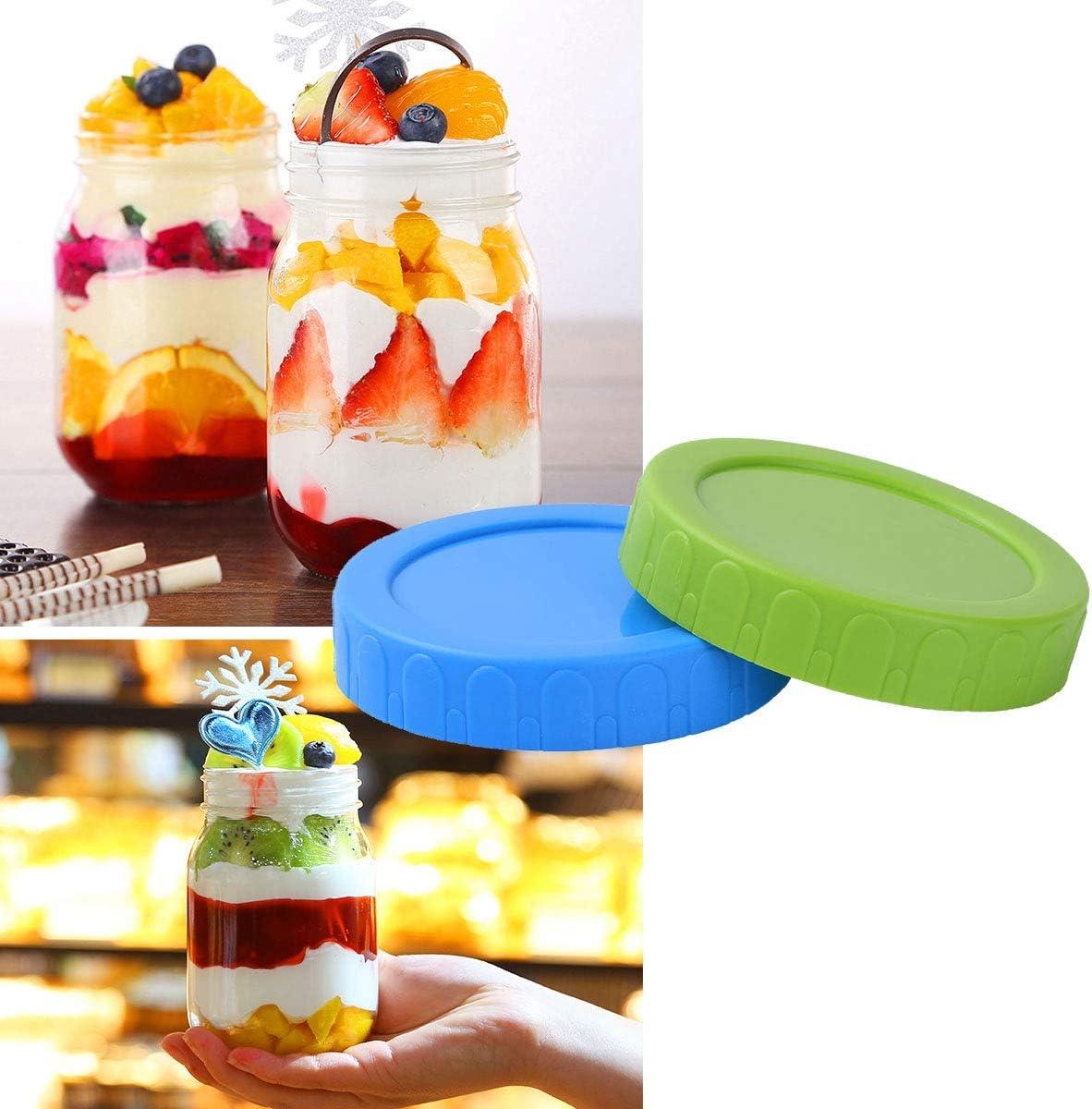 ACAMPTAR Tapas de almacenamiento para tarros de boca ancha 8 unidades, tapas de fermentaci/ón, tapas de repuesto a prueba de fugas con sello de silicona para tarro de 86 mm