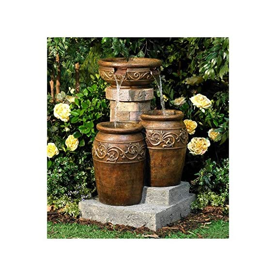 """John Timberland Tuscan Outdoor Floor Water Fountain with Light LED 31 1/2"""" High Cascading for Yard Garden Patio Deck Home - 31 1/2"""" high x 19"""" wide x 19"""" deep. Weighs 33 lbs. Tuscan stone traditional garden patio fountain from the John Timberland brand. Water flows from top basin into the two lower basins. Built-in LEDs in the two lower urns. - patio, outdoor-decor, fountains - 61DXMS3bxRL. SS570  -"""