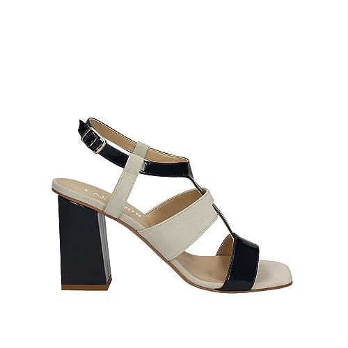 Caf Noir LE521 scarpa sandalo donna vernice e camoscio multi nero
