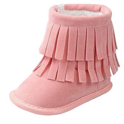 3abd93aab95 Bovake Baby Boots Toddler Newborn Soft Sole Anti-Skid Pram Booties Socks 0-6  Months