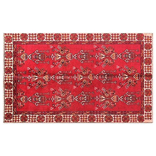 3.6' X 6.6' Red Unique Distressed Vintage Rug, beige border medium size, Vintage Floor Rug, Oriental Area Rug, Traditional Fancy Carpet. Code:R0101408