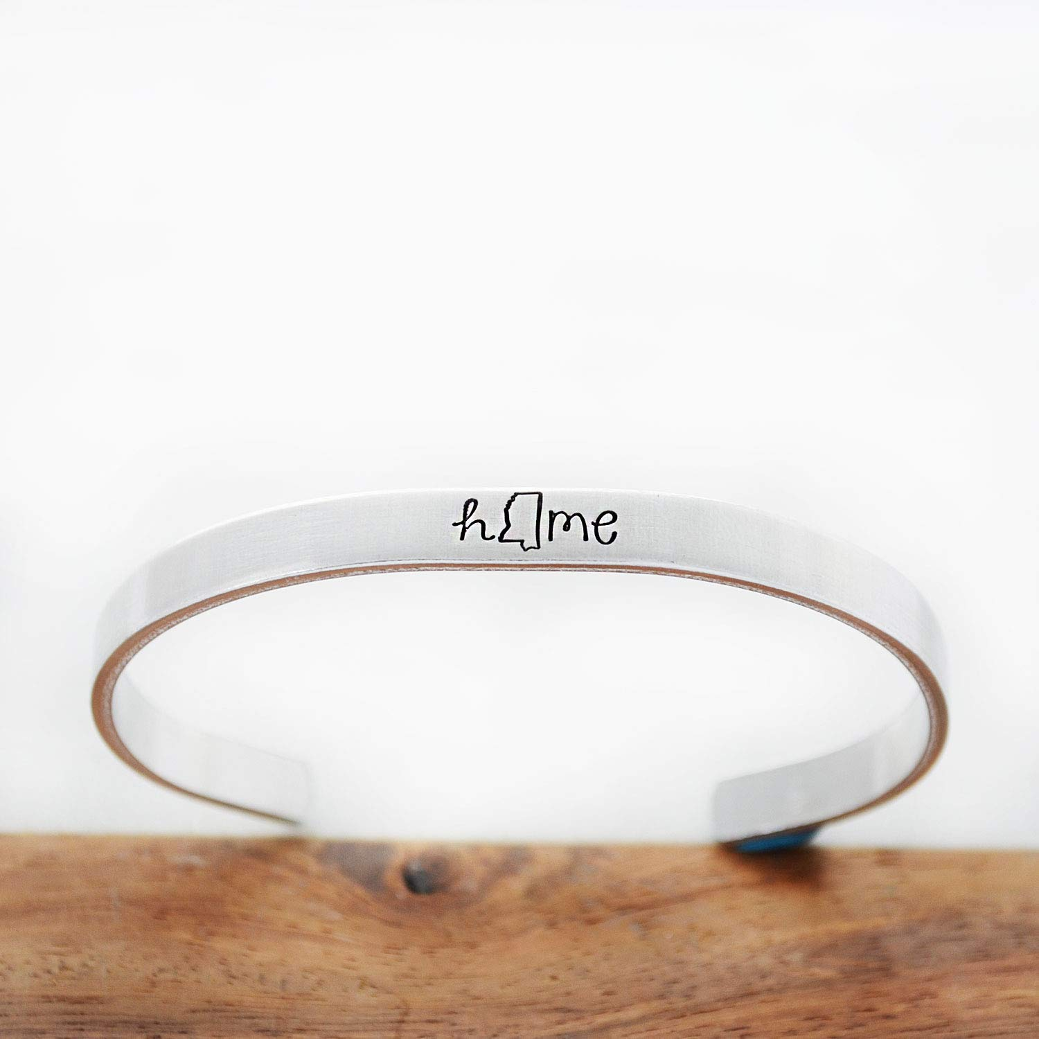 Mississippi State MS Home Cuff Bracelet Hand Stamped Jewelry Long Distance Relationship LDR Gift for Best Friend Daughter Graduation