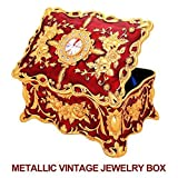 Jewelry Box,Ophanie Vintage Metal Case Organizer Storage Boxes with Two Layer(Red)