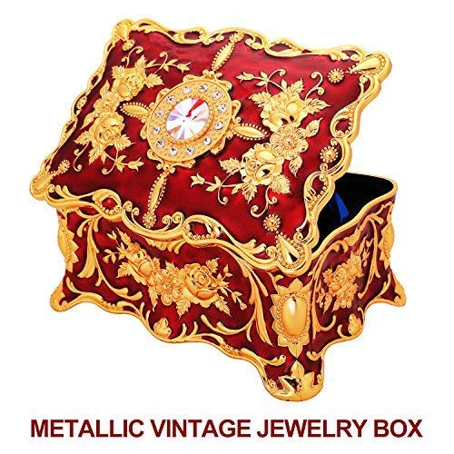 Ophanie Jewelry Box, Vintage Metal Case Organizer Storage Boxes with Two Layer for Her (Red)
