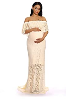 d402ceb32f1a6 ZIUMUDY Women's Off Shoulder Ruffles Lace Maternity Gown Maxi Photography  Baby Shower Dress