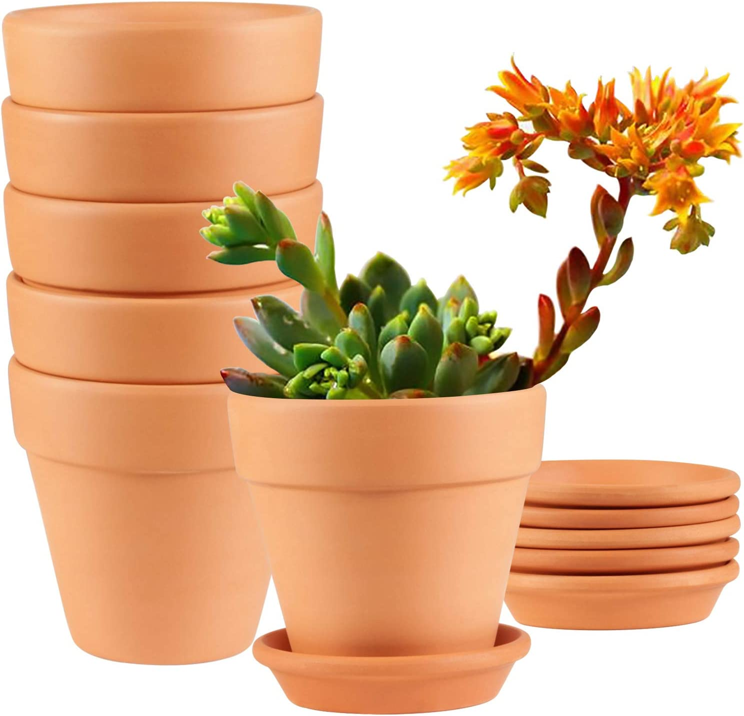Clay Pots, EHWINE 4 inch Clay Pots for Plants with Saucer Cute Garden Pots Succulent Planters Cactus Flower Pots with Drainage, Set of 6(Plants Not Included)