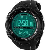 para la práctica de Deportes Reloj Digital - 5 Bares Impermeable Militar de los Relojes Digitales con Alarma/Sig, Negro…