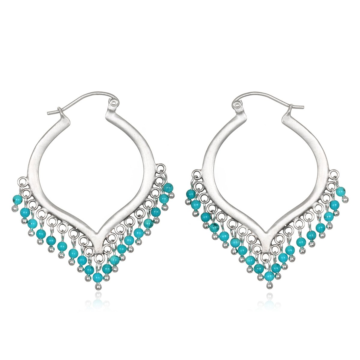Satya Jewelry Women's Turquoise Silver Wrapped Hoop Earrings, Blue, One Size