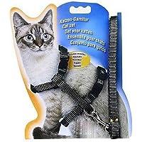 Pet Kitten Cat Walking Harness Lead Nylon Leash Safety Clip Adjustable Collar - RED/Black/Pink/Blue/Green (Black)