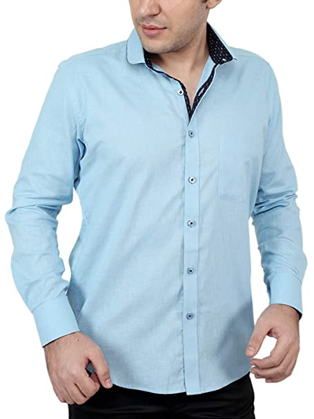 91a03271386b1 Zeal 100% Cotton Deep Sky Blue-Dark Blue Casual-Formal Shirt  Amazon.in   Clothing   Accessories
