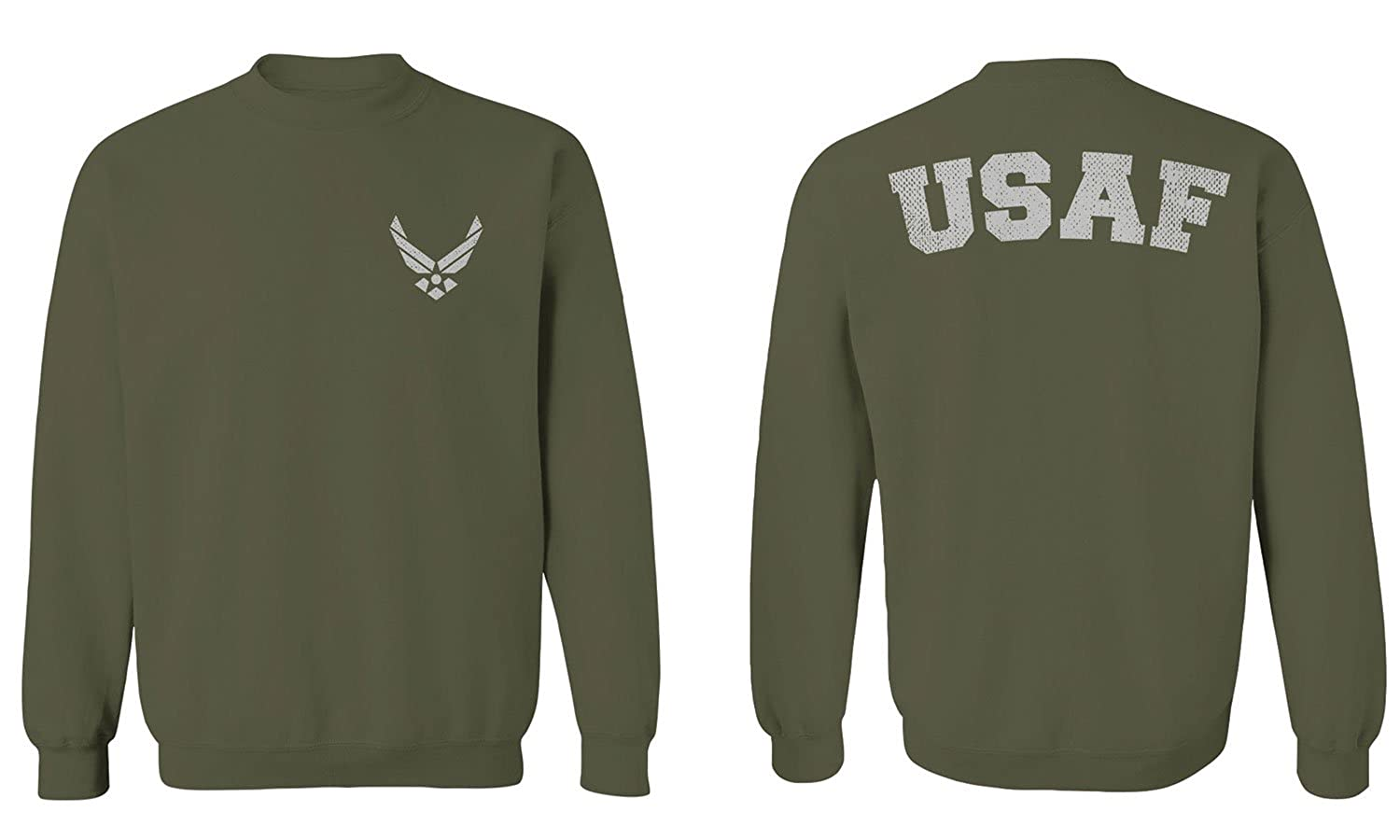 Front and Back U.S. Air Force USAF United States of America American Soldiermen's Crewneck Sweatshirt 0076_CREWNECK