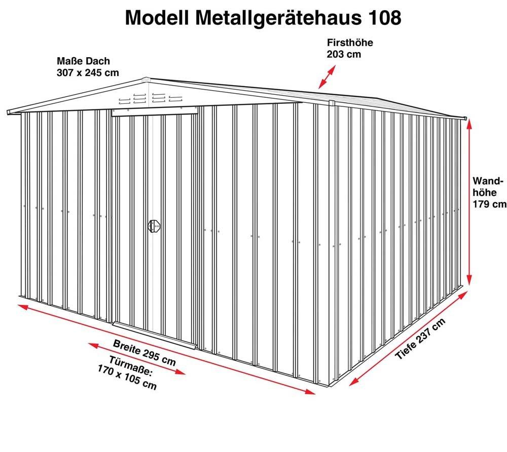 GLOBEL Industries metal jardín cobertizo Jardín Casa 10 x 8 plata metálico con base de acero//295 x 237 x 203 cm (Alto)//cobertizo metal tejado: Amazon.es: ...