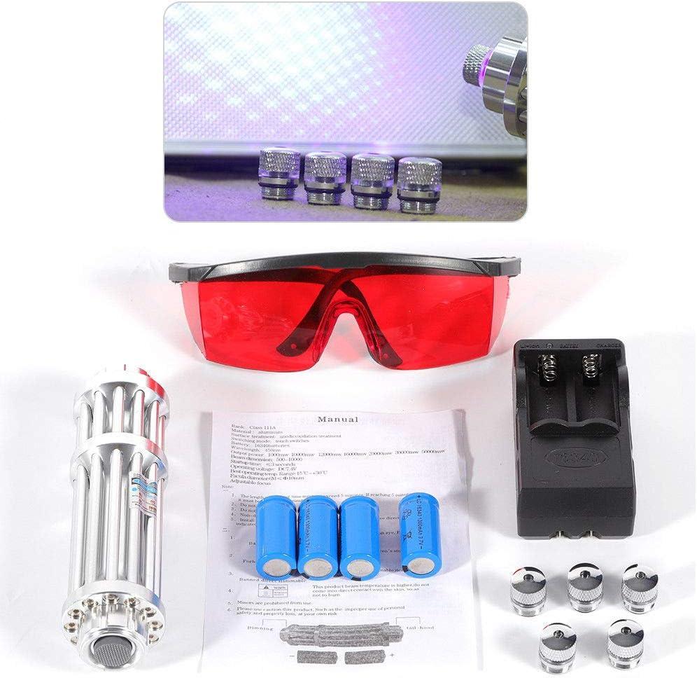 High Power Blue Ray Buring Light 450nm Beam Light 5m Watt with Box (Light with 4 Batteries)