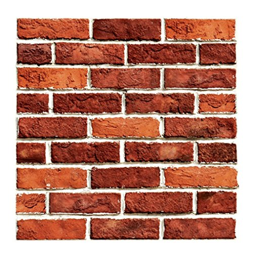 Vacally 3D Wall Decor Wallpaper Wall Sticker Embossed Brick Simulation Tile Wall Sticker Living Room Bedroom Background (Multicolor 10)