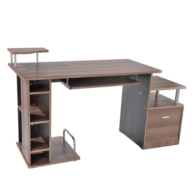 HOMCOM Scrivania per Computer scrivania da ufficio Tavolo PC in legno marrone scuro Outsunny