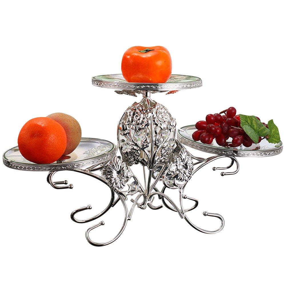 iecool Stainless Steel European Three-tier Glass Fruit Plate Dessert Rack Silver