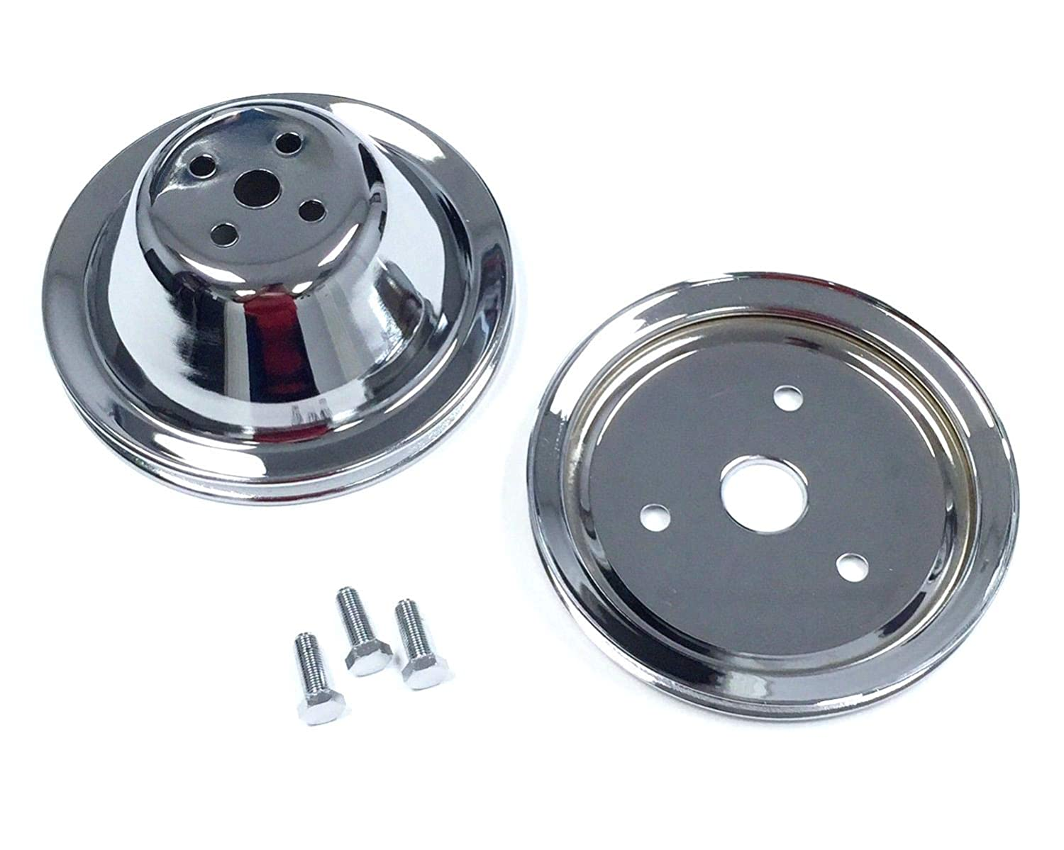 Pirate Mfg SB Chevy Short Water Pump Chrome Steel 1 Groove Pulley Kit 283 327 350 V8
