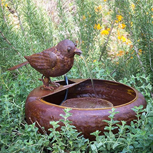 Park Hill Collection Folk Art Little Bird Fountain Spitter with Pump is Great Decor for Patio, Deck and Home, Folk Art Inspired Metalwork, 12x12x8 Inches