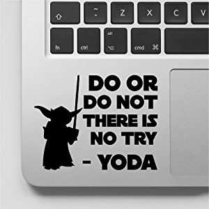 Yoda Decal Sticker Do Or Do Not There is No Try Yoda Quote Laptop Decal Vinyl Stickers Compatible with MacBook Retina, MacBook Air, MacBook Pro |Black | VC-339