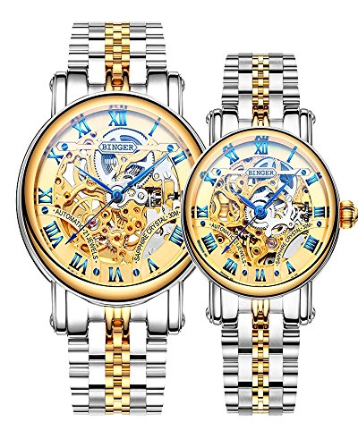Binger Couple Watches Mechanical Skeleton Stainless Steel Watch for her or his (White / Gold) by Binger