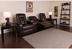 Flash Furniture Eclipse Series 3-Seat Reclining Brown LeatherSoft Theater Seating Unit with Cup Holders