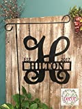 Metal Initial Garden Flag - Single Initial w/Last name Garden Flag - 14'' ACM Metal Custom Monogram Garden Flag Sign - Yard Decoration - Yard Decor - Initial Yard Sign - GARDEN STAND OPTION