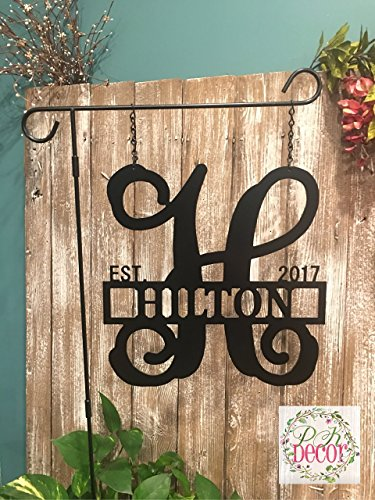 Metal Initial Garden Flag - Single Initial w/Last name Garden Flag - 14