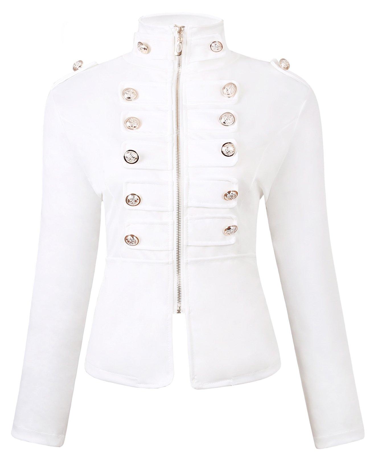 AURNEW WomensCasualDoubleBreastedZip FrontHighNeckSlimFitMilitary Light Jacket (White, M)