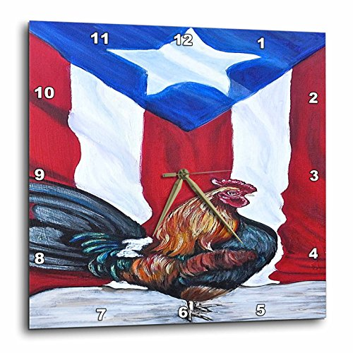 3dRose Melissa A. Torres Puerto Rican Art - Rooster with Puerto Rican Flag - 10x10 Wall Clock (dpp_186792_1)