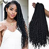 #8: 20 inch black Curly Faux Locs crochet Hair 6 packs soft Synthetic Crochet Braid Dreadlocks Braiding Hair for black women