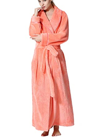 1c88ae808d Osave Women Flannel Long Floor Length Bathrobes with Pockets Soft Robe  Plush Bathrobe with Shawl Collar