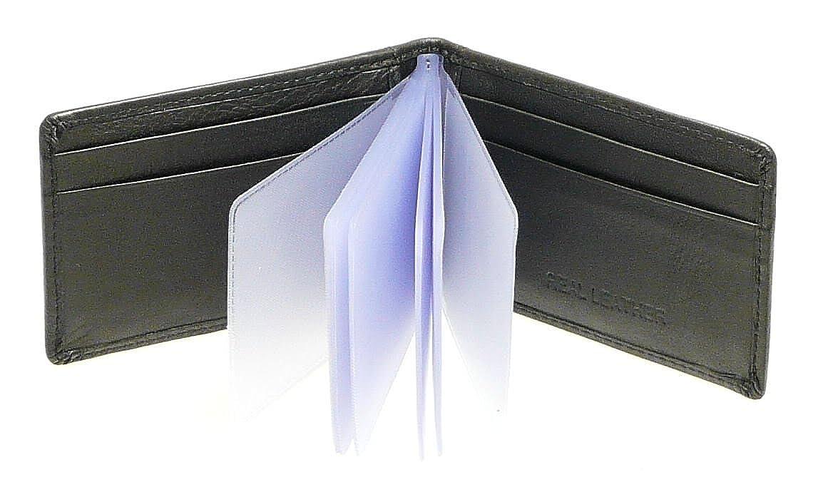 Véritable souple de crédit en cuir noir Porte-cartes Porte-monnaie - 20 pochettes en plastique transparent Neptune Giftware