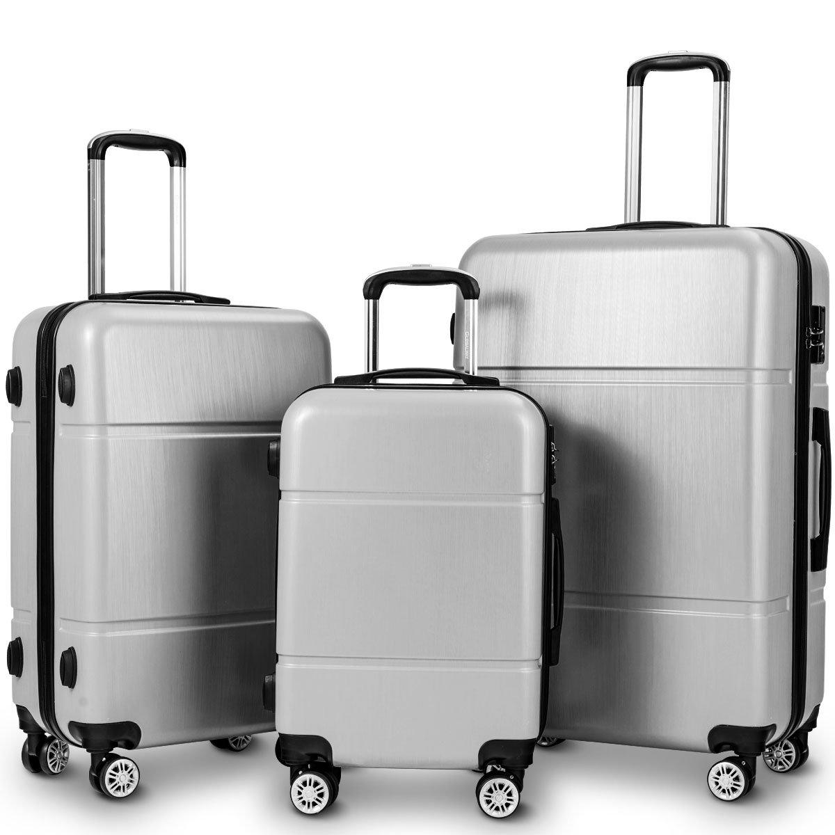 Goplus Luggage 3PC Set Lightweight Hardshell Travel Trolley Expandable Suitcase w/TSA Lock (Grey)