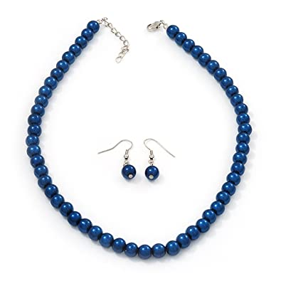 inches com amazon blown glass silver venetian blue necklace chuvora jewelry dp murano water drop and pendant hand
