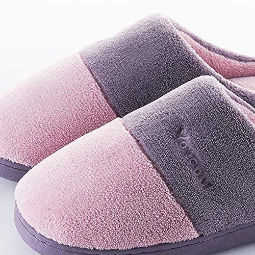 Paquet Et Fond Femmes Demi Accueil Hommes Antidérapant Coton SFHK Chaussons Hiver Chaussures Purple Épais Couple L'automne Intérieur TxHwgz