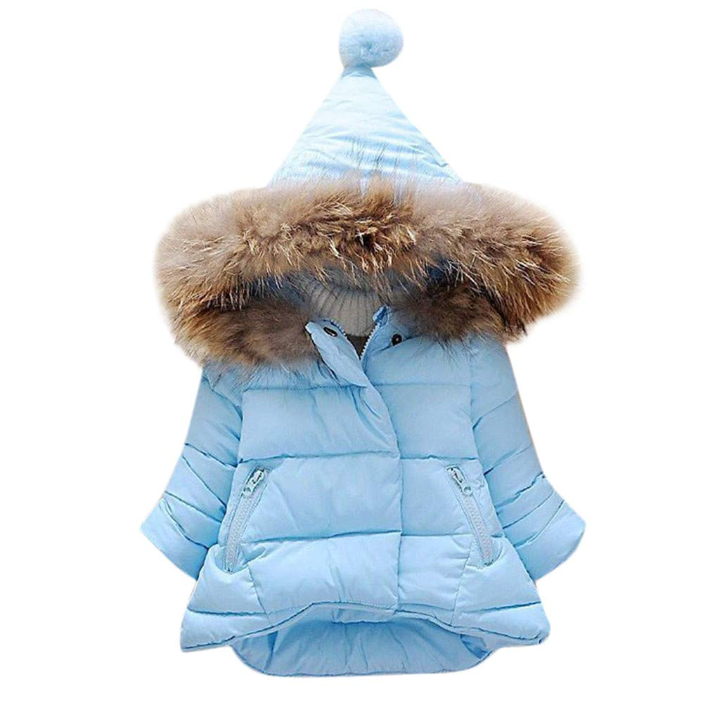 Jchen(TM) Toddler Baby Kids Little Boy Girl Faux Fur Hooded Down Jacket Winter Thick Warm Hoodie Long Coat for 0-5 Y (Age: 6-12 Months, Blue)