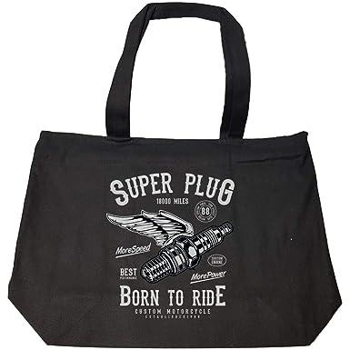 43b8cd9cde5f Amazon.com: Super Plug - Motorcycle Racing - Fashion Zip Tote Bag ...