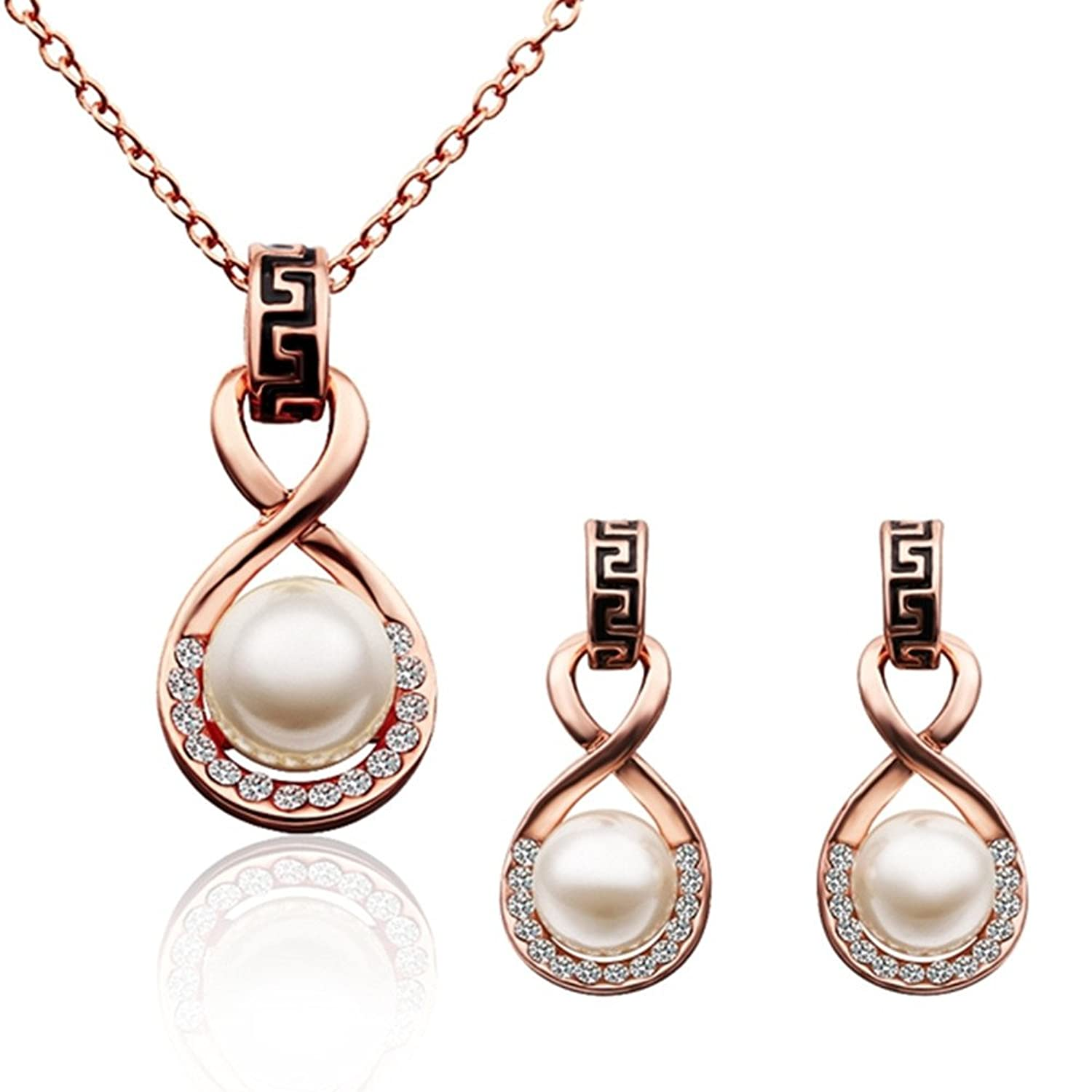 Amazoncom 18K Rose Gold Plated Simulated Pearl Jewelry Sets