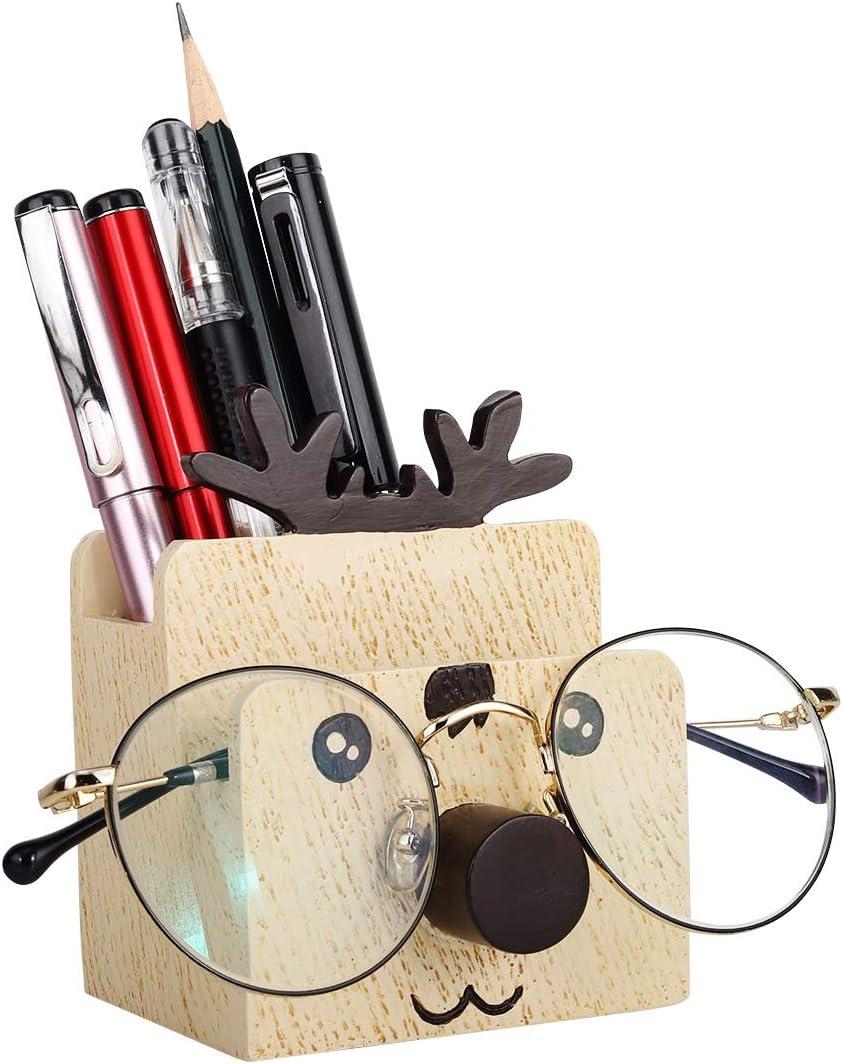 MoKo Pen Pencil Holder, Cute Creative Multifunctional Pencil Stationery Holder, Eyeglass, Phone Bracket Stand Desk Organizer for Office/Home/School - Deer