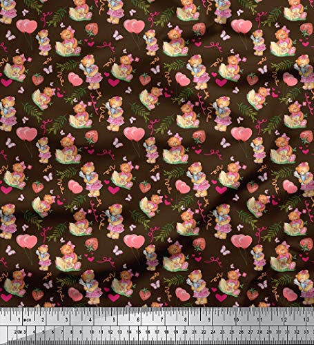 - Soimoi Brown Cotton Poplin Fabric Balloon & Teddy Bear Kids Print Fabric by The Yard 42 Inch Wide